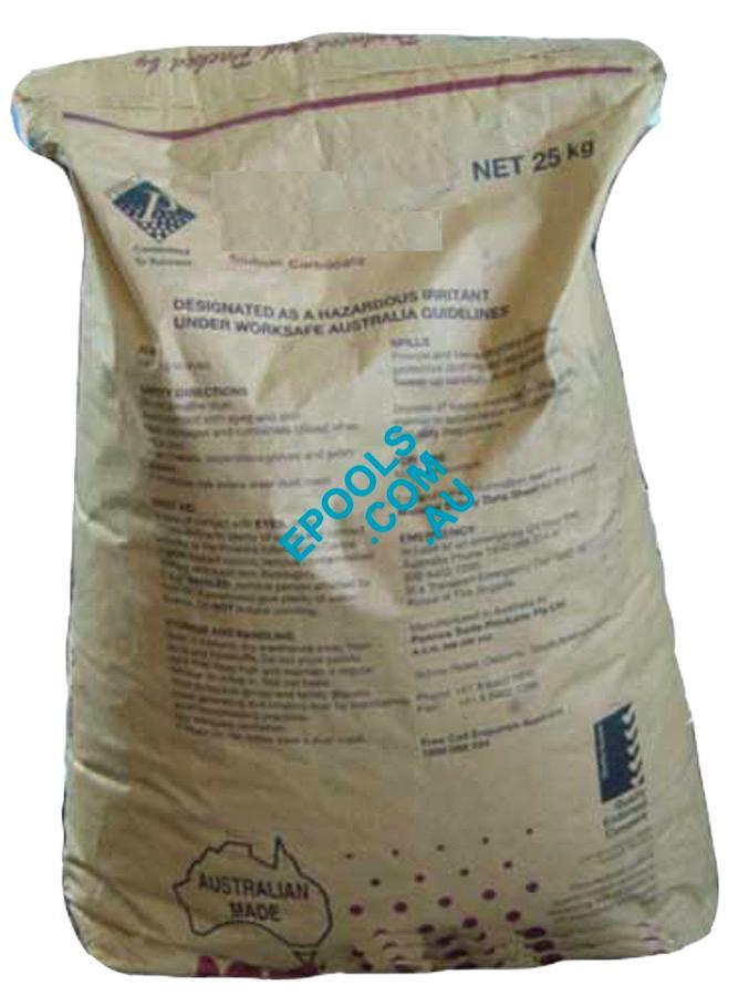Bulk soda ash ph up 25kg bag epools pool shop for How to add soda ash to swimming pool