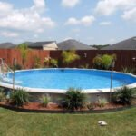 light blue above ground pool