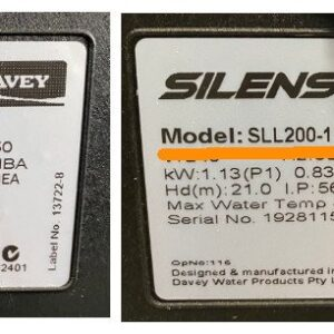 davey silensor sll and sls data plates